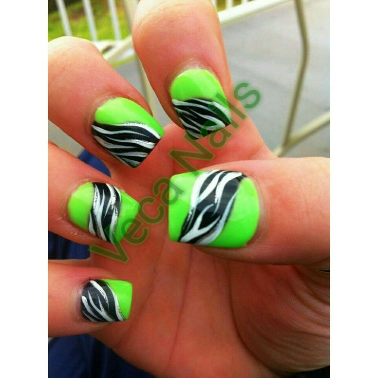 lime green nail designs with zebra print - 116 Best Veca Nails Diseños Images On Pinterest