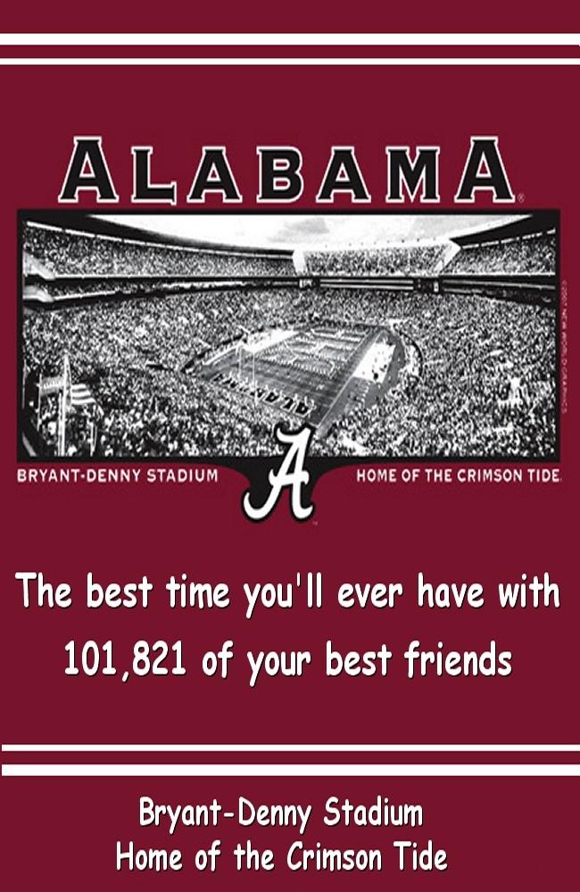 Bryant Denny Stadium. 101,821 seating capacity. University of Alabama Crimson Tide.