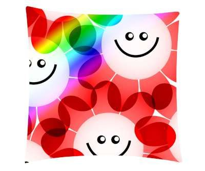 Smiley Flower Printed Cushion Cover & Cushion Fillers
