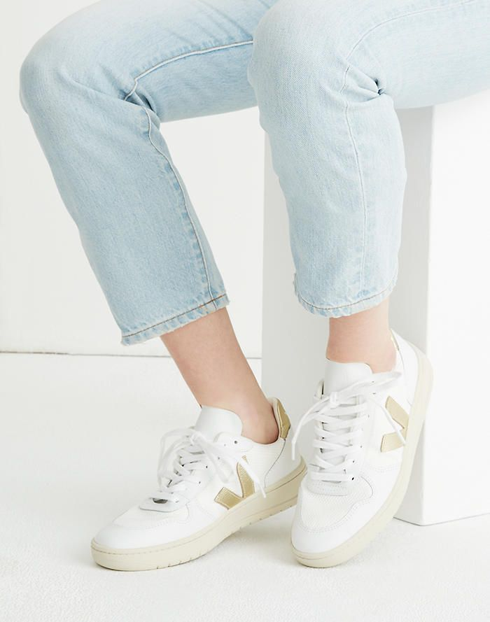 05275f4a31da37 Veja™ V-10 Lace-Up Sneakers in White with Gold Accents in white gold image 2