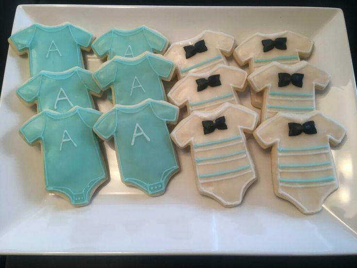 Boy baby shower cookies. Cute onesies!