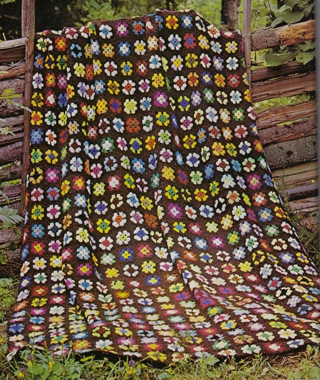 This lovely Granny Square afghan was originally featured in an Old Woman's Day Magazine from the 60's or 70's.  Afghan is approximately 600 squares joined together.