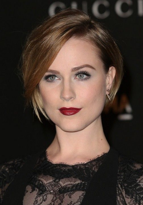 Evan Rachel Wood Latest Short Straight Bob Haircut with Side Swept Bangs