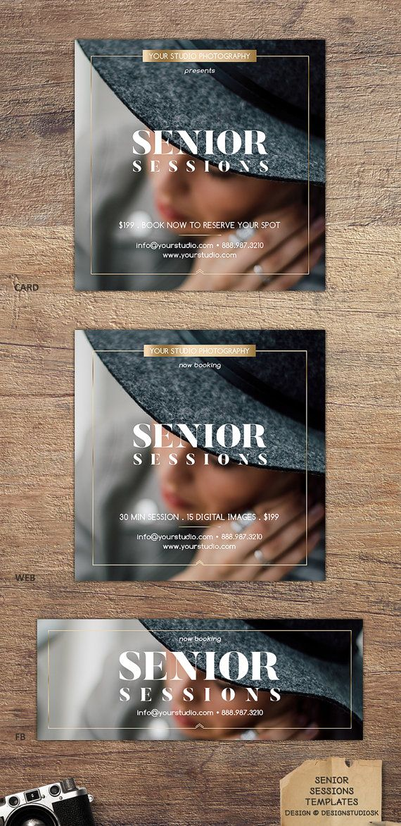 Chic, upscale photography marketing set to promote senior sessions in style.