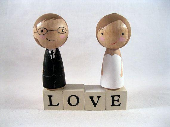 Kokeshi Peg Doll Semi Custom Wedding Cake or Cupcake Tower Topper with LOVE blocks - I got a Crush on You. $50.00, via Etsy.
