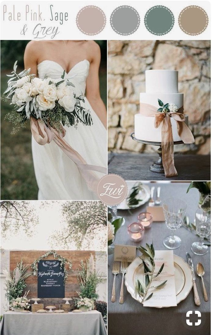 Sage Blush Grey Colors Wedding Color Schemes Winter Country
