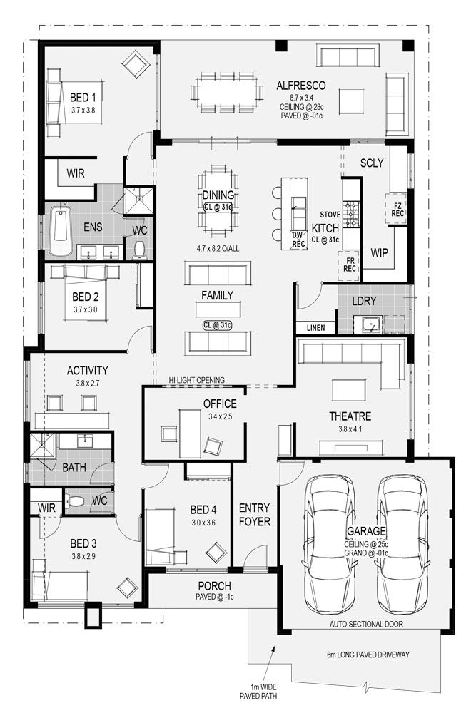 The Monza floorplan - only at HomeGroupWA.  To end up in your perfect home, the best place to start is with us.