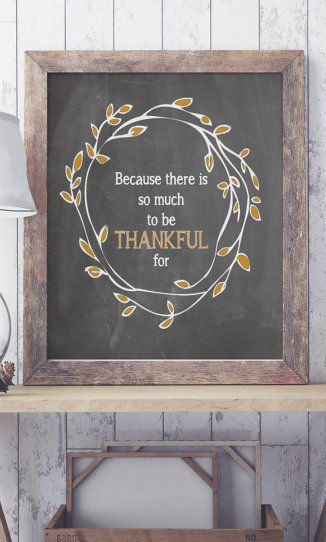 Fall Thanksgiving Chalkboard Art Print