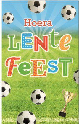 HOERA Lentefeest!   Lentefeest kaartje met voetbal voor jongens