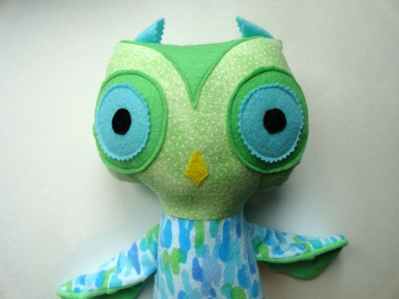 Handmade Owl Doll  Toddler Boy Toy  Plush Owl  by SweetSewingByJen