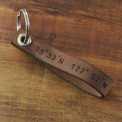 Personalized Latitude Longitude Leather Keychain