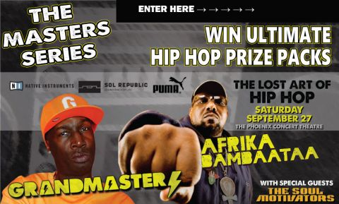 Ultimate Hip Hop Prize Pack Contest A Pair of Tickets to the Lost Art of Hip Hop Concert September 27, Sol Republic Amps HD in ears headphones ($99) + Exclusive CD from Afrika Bambaataa personal collection and a pair of Puma Suede Classics