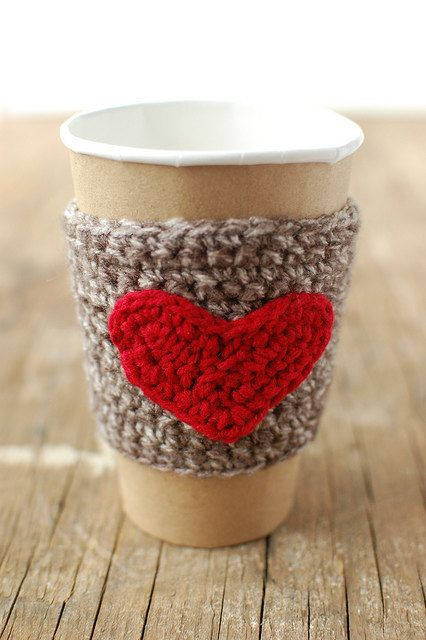 Coffee Cup cozy with red heart by The Cozy Project, $16.00