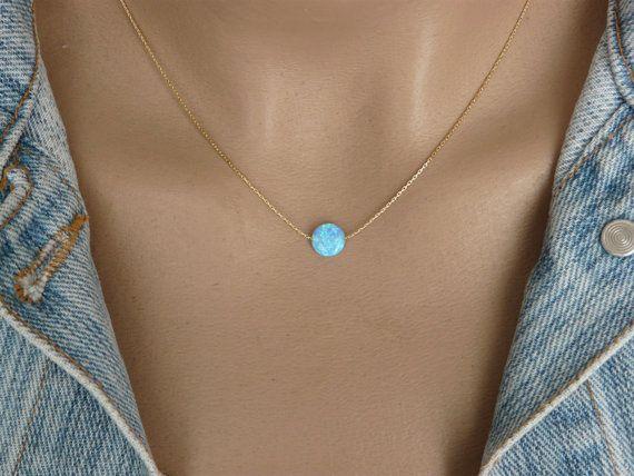 Opal moneda collar, collar de ópalo, collar delicado ópalo, collar de ópalo azul, collar de plata esterlina, collar, joyería del ópalo