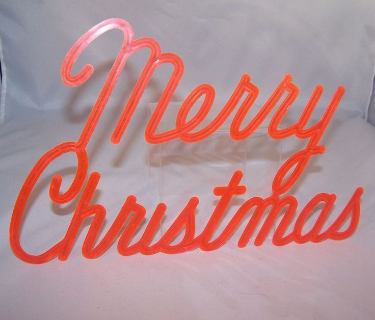 """1960s Vintage Red Plastic """"Merry Christmas"""" Sign written in cursive!"""