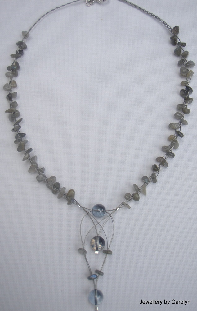 Labradorite Necklace with Mystic Grey Quartz Dr... - Folksy