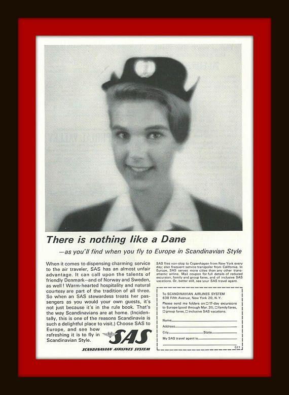1962 SAS Airlines  Vintage Ad  Dane  Scandinavian  Flight
