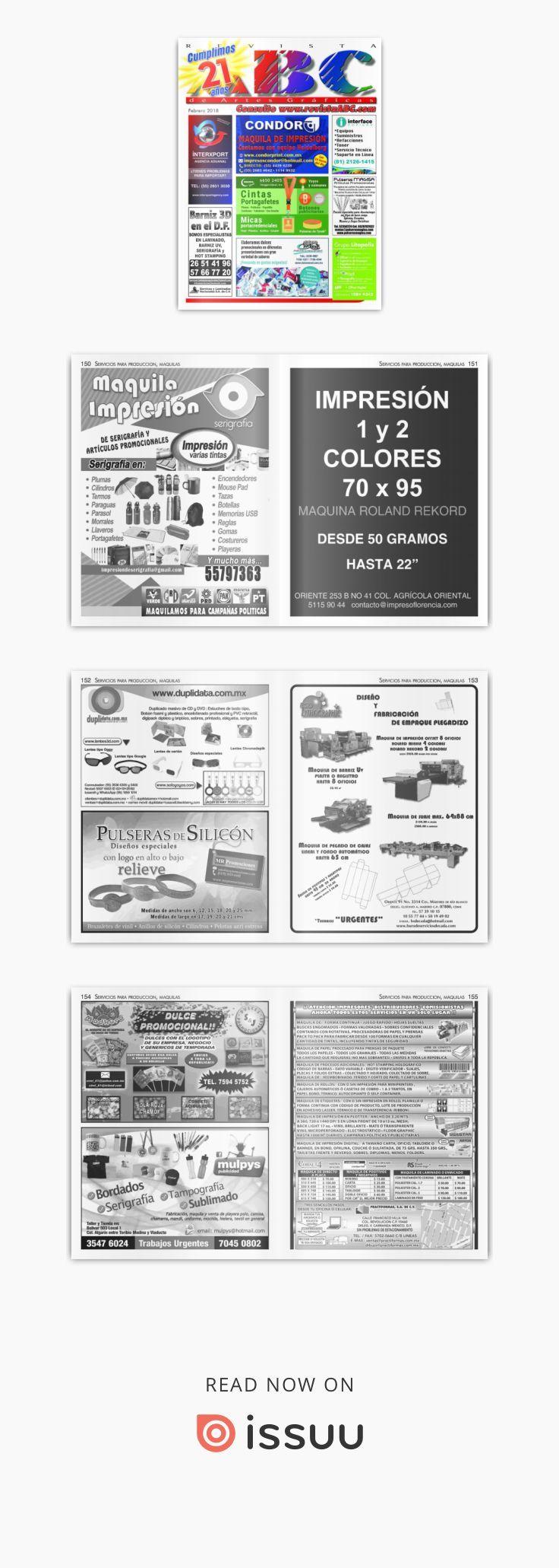 Revista ABC de Artes Gráficas México Febrero 2018  Revista especializada en Artes Gráficas, Publicidad, Offset, Artículos Promocionales, Impresión en Gran Formato, Tintas, Preprensa, Maquinaria para las Artes Gráficas etc.
