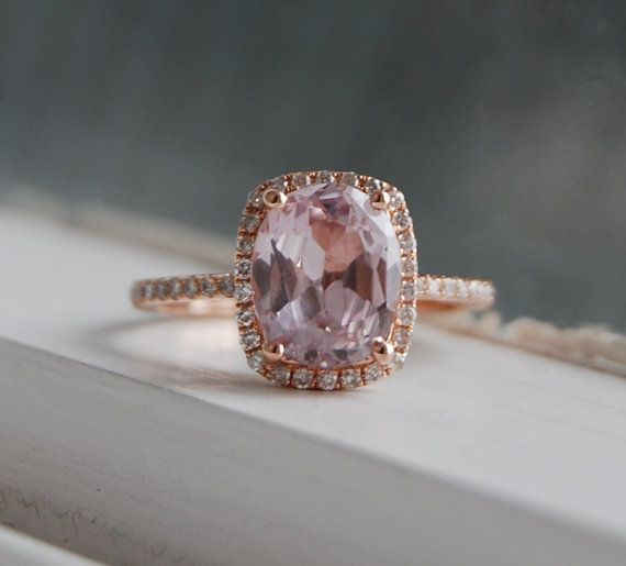 2.5ct cushion ice mauve peach champagne sapphire 14k rose gold diamond ring engagement ring