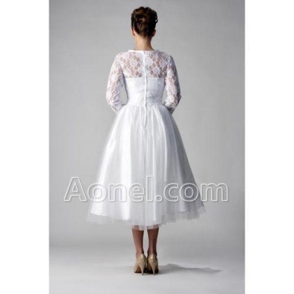 Wedding dresses for plus size older brides tea for Tea length wedding dresses for older women