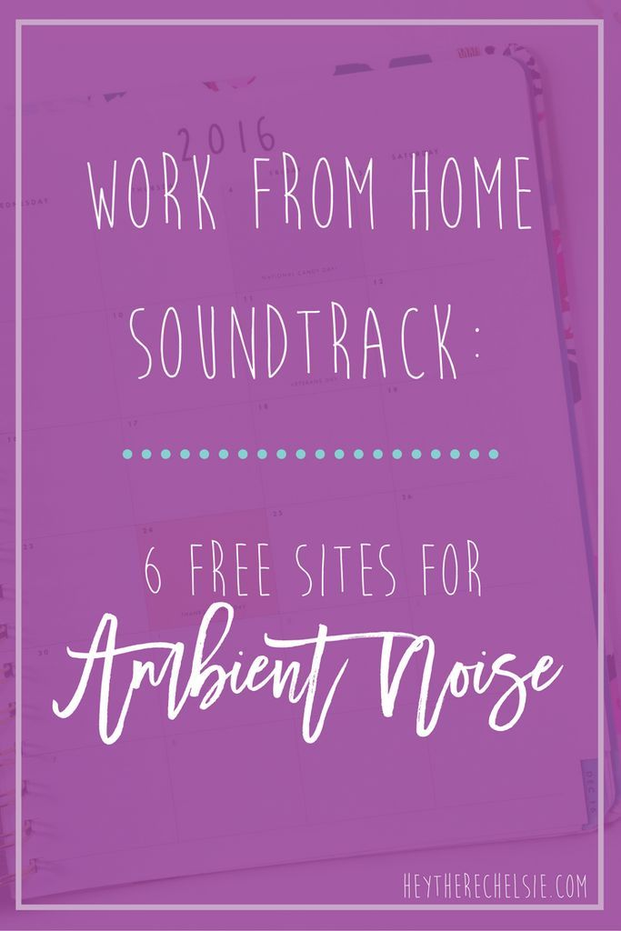 Work from home soundtrack: 6 sites for ambient noise to help you be more productive during your work day! It's proven that having a certain level of background noise can boost your productivity and I've rounded up 6 of my favorite sites that help fill your office with gentle and relaxing background noises! // http://www.heytherechelsie.com