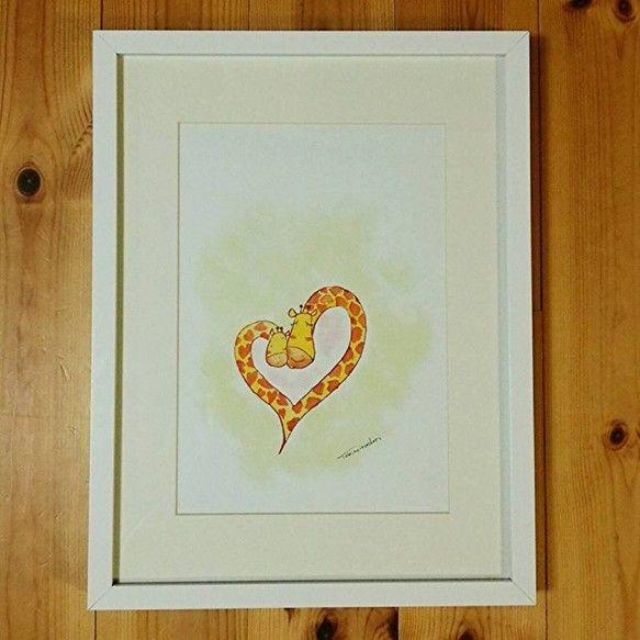 額入りTokinoirodoriアート『LOVEキリン』●額(フレーム)サイズ外側:約425mm×325mm厚み:約35mm色:ホワイト額面:ガラ...|ハンドメイド、手作り、手仕事品の通販・販売・購入ならCreema。