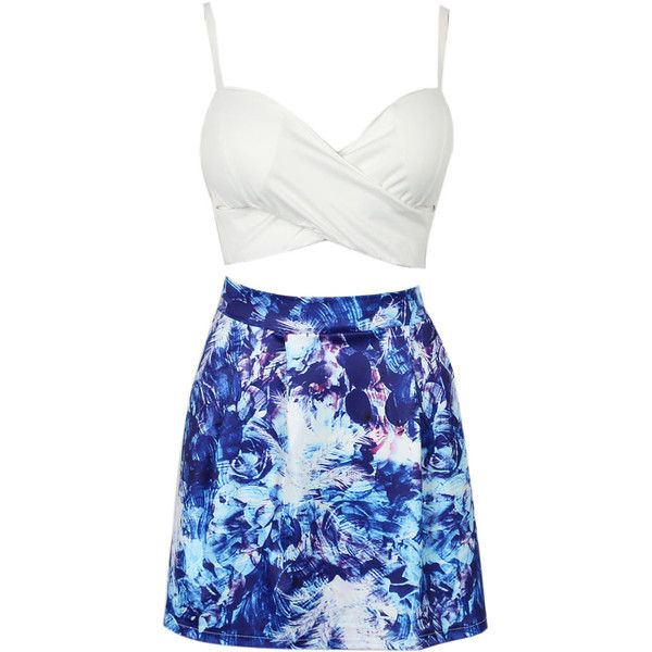 Choies White Wrap Cupped Crop Top And Blue Floral Print Mini Skirt ($22) Liked On Polyvore ...