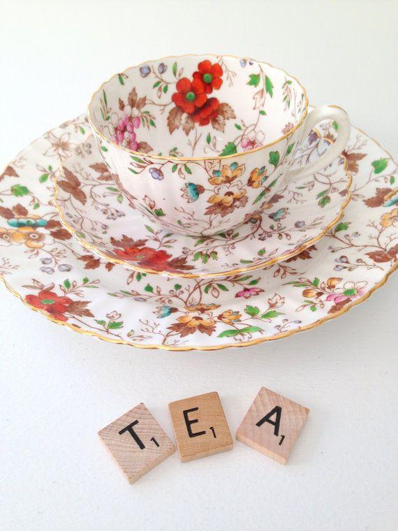 Antique English Bone China Radfords Fenton The Gatineau Pattern Teacup, Saucer and Dessert Plate Trio
