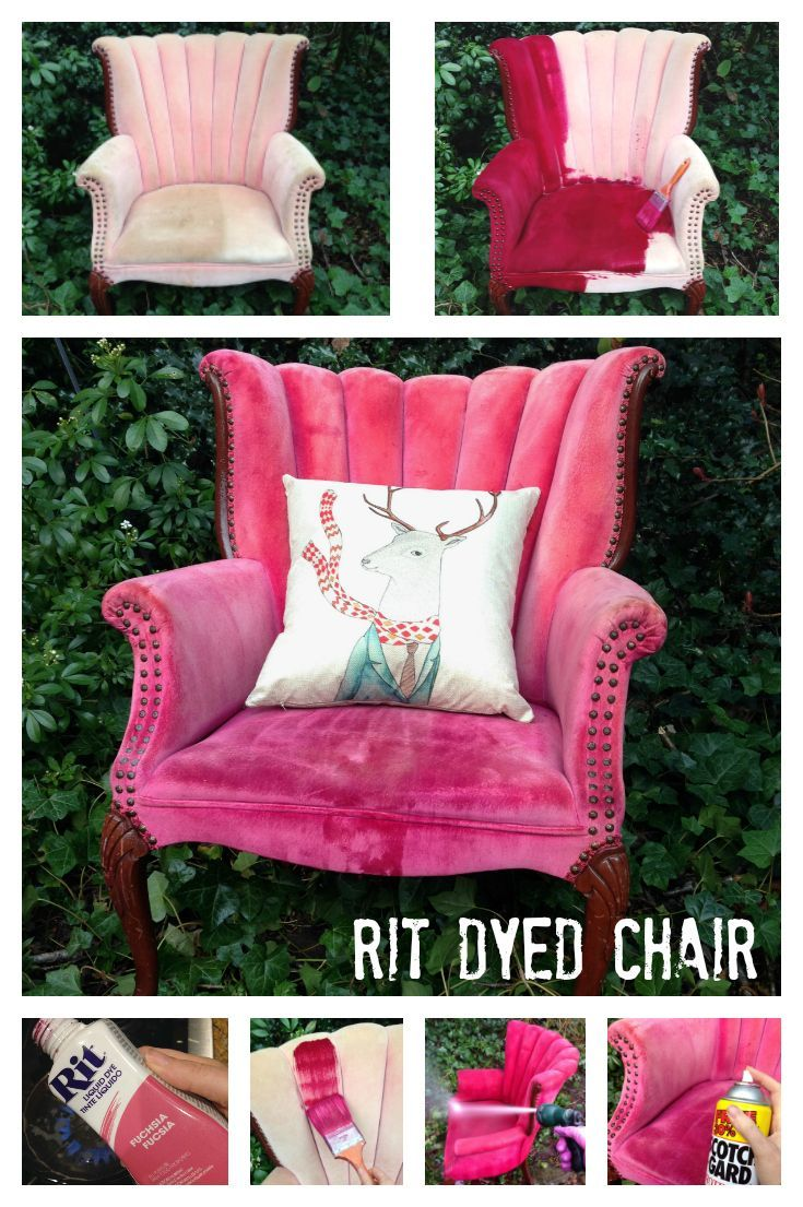 I bought this chair for $30 on CraigsList because I liked the design. However, it is in pretty bad shape and until I have the budget for reupholstering it, I thought I'd camouflage the worn out and stained original upholstery with a bottle of Rit liquid dye, a paintbrush and my garden hose. It was super easy and I think the chair looks SO much better!  P.S. This is the second time I've dyed an upholstered chair (see my studio for the other chair). I've been sitting in the first chair daily…
