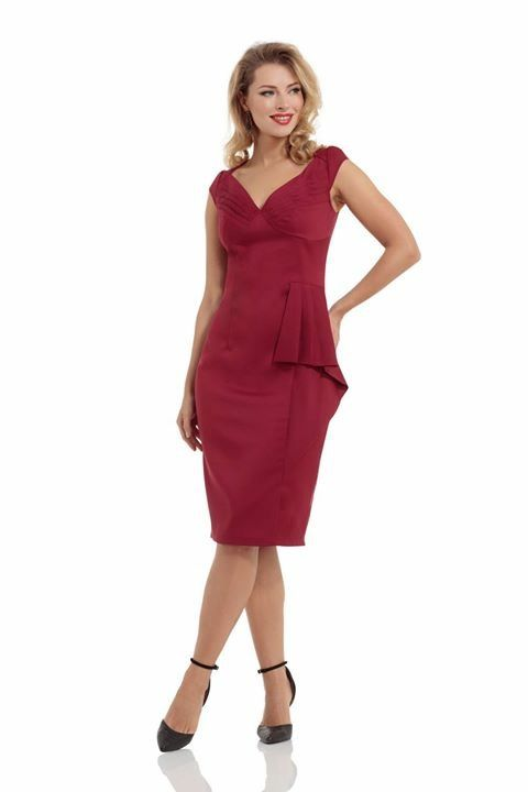 4ba8ddda52f Voodoo Vixen - Khloe Ruffle Burgundy or Navy Pencil Dress
