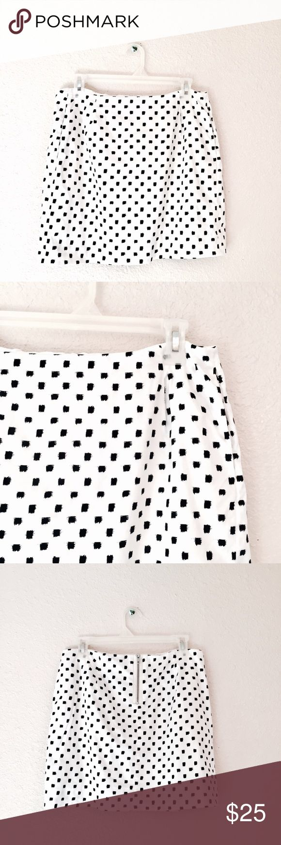 J Crew white mini skirt black square Polka dots 4 Awesome minimalist skirt from J.Crew. White mini skirt that has black square polkadots. It's got a cool hash effect to it. Fully lined. Zipper down the back with the metal zipper. Great for all occasions and work appropriate. Excellent used condition. Size 4. J. Crew Skirts Mini
