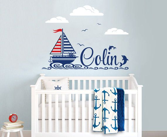 Nautical Themed Personalized Custom Name Vinyl Wall Decal Sticker for Nursery or Boy's  Room, Sail Boat Decal