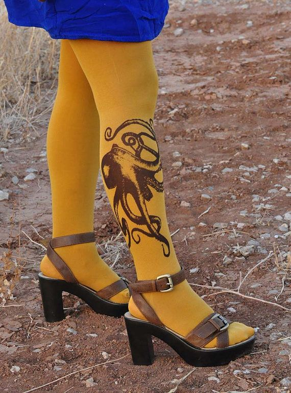 OCTOPUS Mustard Tights - Funny Octopus -Made to order -Nautical tights in colors-Gray,Mustard,Rusty Red,Beige