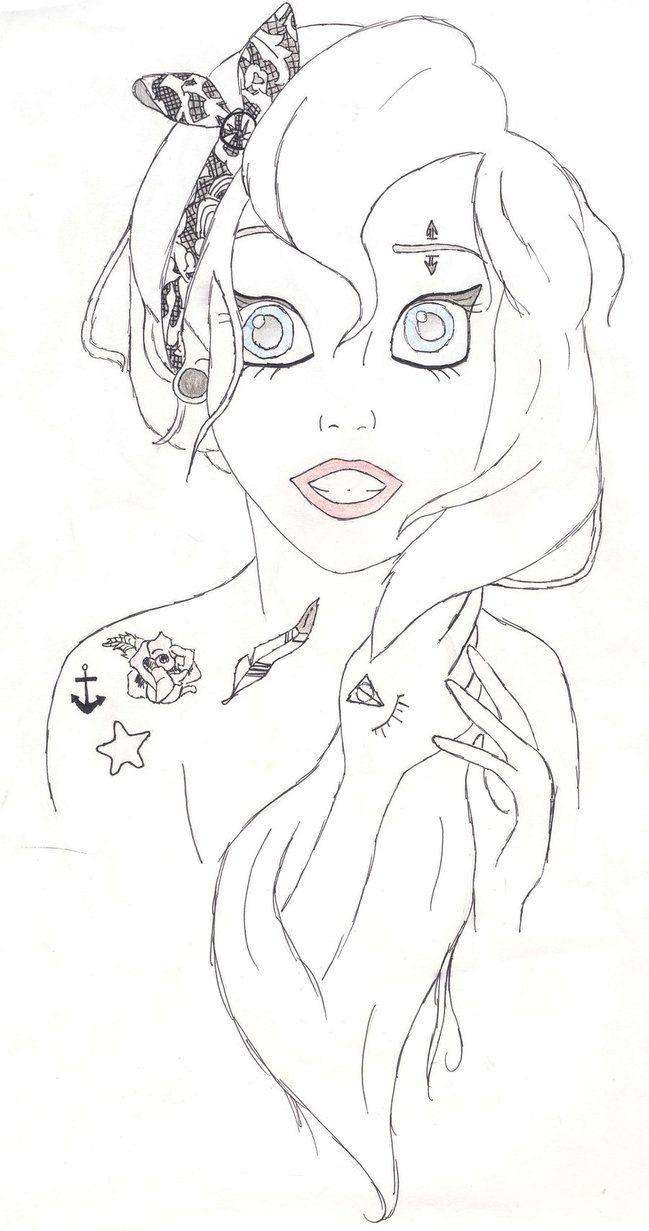 punk emo ariel coloring pages  disney princess coloring