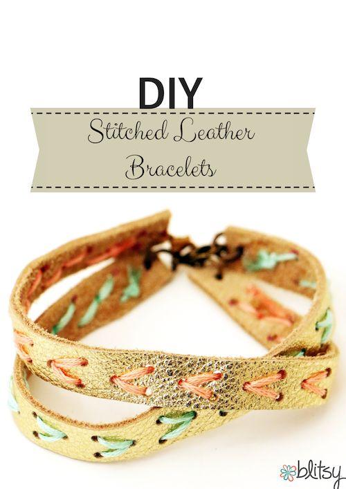 Blitsy Crafts: DIY Stitched Leather Bracelet