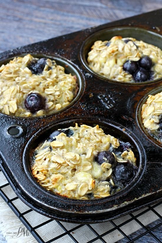 Baked Blueberry Oatmeal Cups ~ Moist and not too sweet. They're a cross between baked oatmeal and muffins, and are perfect for quick, on-the-go breakfasts!