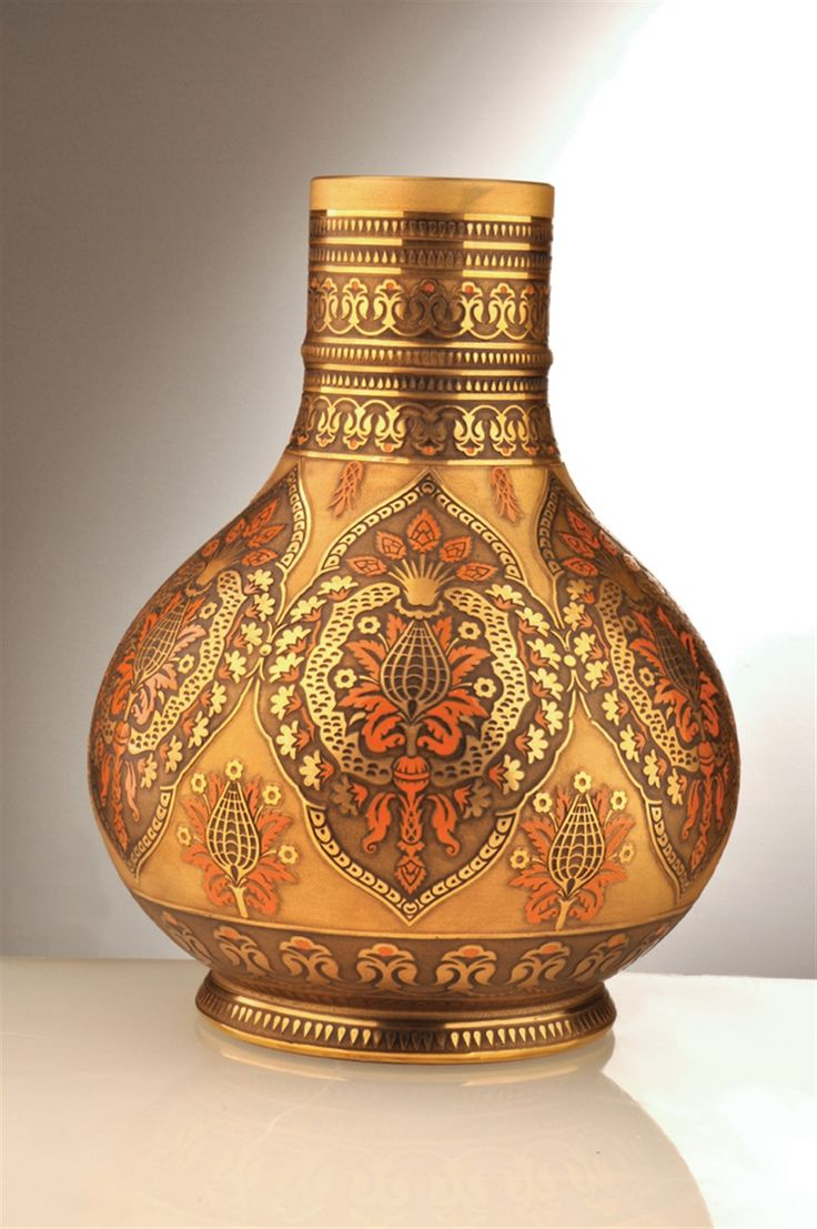 Historic Art Glass Tevhid Collection Hand painted Vase with 24 Karat Gold and burnt orange decoration