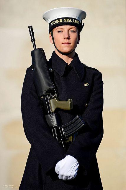 Royal Navy Servicewoman on Parade in London