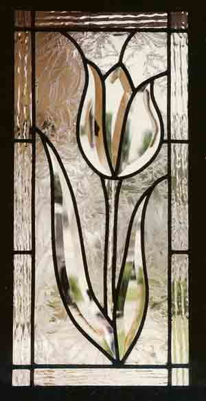 Beveled Tulip Cabinet window Stained Glass