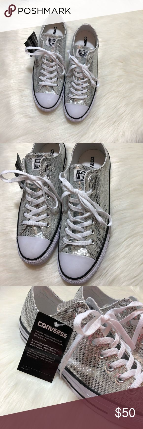Converse Chuck Taylor Ox Silver Glitter ✨ Unisex silver glitter converse. NWOT Women's 13 Men's 11. Converse Shoes Sneakers