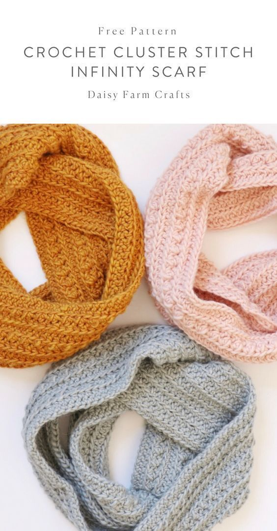 Padrão Livre - Crochet Cluster Stitch Infinity Scarf