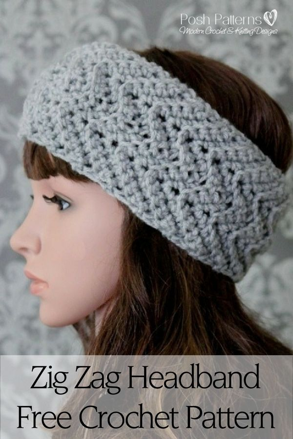 Free Crochet Pattern - A pretty crochet headband pattern that features a fun zig zag stitch design. By Posh Patterns.