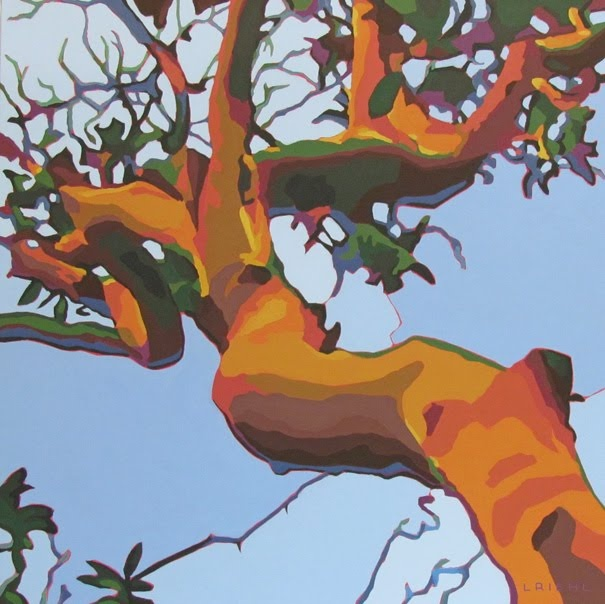 Beautiful painting by Lisa Riehl of an arbutus tree. Very nice compostion