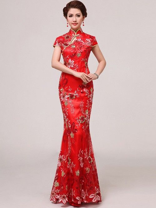 Red Sequined Ankle-length Mermaid Chinese Qipao / Cheongsam Wedding Dress