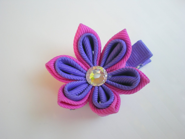 Wild Berry and Periwinkle Buttercup Kanzashi by CCsChicBowtique, $10.00  #girls #hairclips #flowers #Etsy #handmade