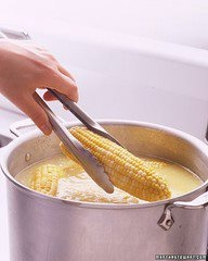 """When butter is added to water it floats to top, perfectly buttering each ear of corn as it is removed - Also, saves some cals by not """"over-buttering""""....if there is such a thing ;)"""