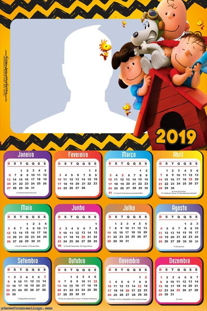 Calendario Snoopy 2020.Snoopy Cartoon Calendar 2019 Frame Photo Montage Free Online