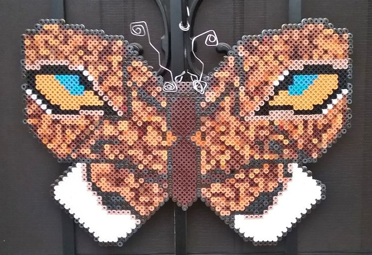Lion Butterfly Wall Decor made with Perler Beads