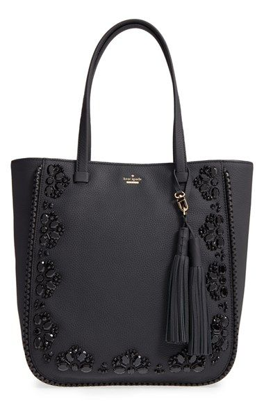 Free shipping and returns on kate spade new york 'anderson way - dorna' beaded leather tote at Nordstrom.com. Hand-stitched jet-black beads add just the right amount of glint to this gorgeous pebbled-leather bag, while laser-cut whipstitched trim beautifully frames the embellished exterior. An optional tassel charm adds a swingy touch to the elegant style.