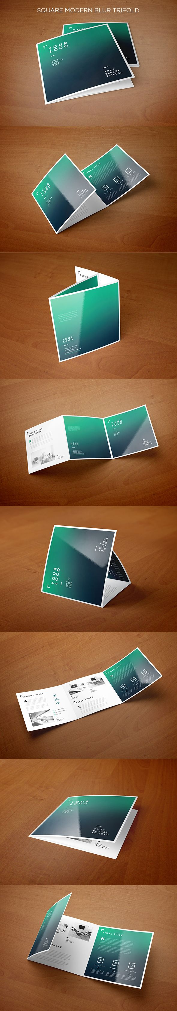 Square Modern Blur Trifold. Download here: https://vimeo.com/131077537 #trifold #brochure #blur